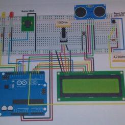 Sensor ultrasónico con alarma, LCD y temperatura